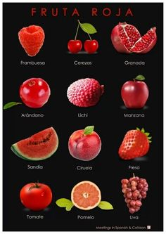 Frutas rojas. Spanish vocabulary in images   #Spanishvocabulary #languages #expressions #spanish #idioms #learning If you find this info graphic useful, please share, like or pin it for your friends.