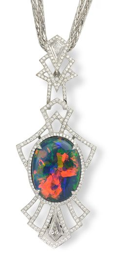 Vibrant Orange, Blue, & Green Opal Necklace with White Diamonds. item #184-817 Kat Florence 8.09 ct Black Opal Cabochon Oval & 0.64 ctw Diamond 18K White Gold 16.18gr Pendant W/ Appraisal Length 17.50 - Gem Shopping Network