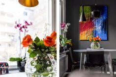 Tom Dixon lamps. Scandinavian kitchen.