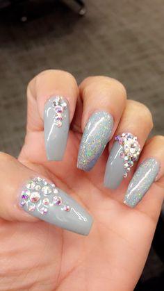 Bling nails, rhinestone nail art, love my nails