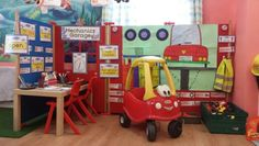 Garage Kids Role Play, Role Play Areas, Pretend Play, Toddler Fun, Preschool Activities, Playhouse Decor, Car Crafts, Go Theme, Play Corner