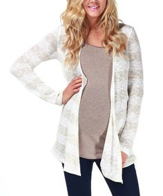 Take a look at this Beige Stripe Maternity Open Cardigan by PinkBlush Maternity on #zulily today!