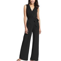 9400e38d01f3 Long Black Rompers Womens Wide Leg Jumpsuit Summer Autumn Party V-neck  Sleeveless Loose Club Pants Belted Summer Formal Overalls
