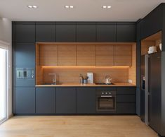 Modern Kitchen Interior Remodeling 35 Modern Black Kitchens That Tempt You To Go Dark For Your Ideas Modern Kitchen Cabinets, Kitchen Cabinet Design, Interior Design Kitchen, Kitchen Modern, Cabinet Decor, Diy Interior, Kitchen Contemporary, Wood Cabinets, Dark Cabinets