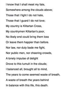 An Irish airman foresees his death, William Butler Yeats