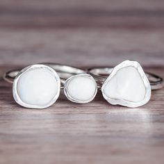white pebble and sterling silver ring - bohemian gypsy festival jewellery - indie and harper