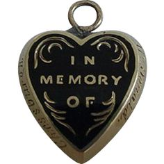 9k Mourning Puffy Heart Charm Locket With Hair Under Glass