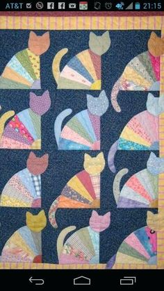 Free Fat Cat Quilt Patterns Cat Quilts Patterns Cat Quilt Patterns Pinterest Heres My Grandmas Fan Cats Quilt Which I Made For Quilts For Kids Its Adapted From A Pattern In The Cats Meow By Janet Kime