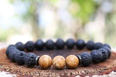 Grounding Mala Bracelet for Men - Lava Rock, Onyx (Matte), Picture Jasper // Positivity Mala, Beaded Bracelet, Buddhist, Earthy Jewelry, Raw on Etsy, $27.00