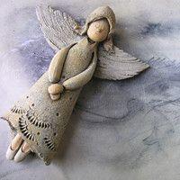 Prodané zboží od Jarmila Všetičková   Fler.cz Clay Angel, Clay Figurine, Nursery Wall Art, Garden Sculpture, Projects To Try, Outdoor Decor, Christmas, Biscuit, Templates