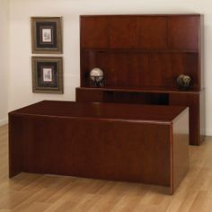 OFD Studio Series - Radius Edge Double Ped Bow Front Desk/Credenza/Hutch set - Cherry; More pieces available #officefurniture #desk