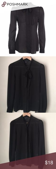 """Sz 6 French Connection Button Neck Tie Black Top US Size 6.   Black French Connection chiffon tie neck blouse. 100% Polyester. Concealed Button Placket. This long sleeve light fabric will sit beautifully however you choose to wear it!  Excellent Used Condition.  Measures 17"""" across bust  Measures 25.5"""" long from center back  Sleeves measure 24"""" long French Connection Tops Blouses"""