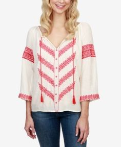 Lucky Brand Embroidered Peasant Blouse - Tan/Beige