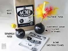 ACME Cat Bombs: Kaboom! - with Gunpowder Grind Catnip. Handmade from StarkRavingCat.com. Purrfect gift for #FathersDay, your favorite Cat Dad, Crazy Cat Lady and your Cat's Birthday. Meow!