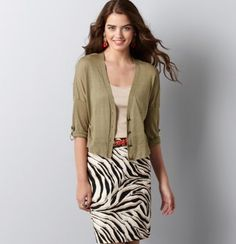 Roll Sleeve Cropped Cardigan