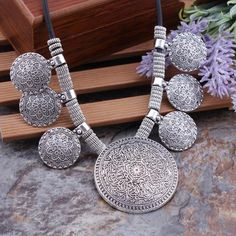 Bohemian Gypsy Vintage Ethnic Tibetan Silver Big Carved Flower Round Tassels Pendants Necklaces For Women Statement Maxi Jewelry Bohemian Necklace, Bohemian Jewelry, Renda Extra Online, Coin Pendant Necklace, Necklace Price, Bohemian Gypsy, Gypsy Style, Round Pendant, Flower Necklace