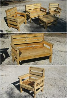 Pallet outdoor furniture - could make some for me and mom.