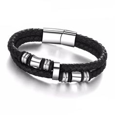 Stainless Steel Genuine Leather Bracelets  Clasp Type:  Box-with-tongue    Shape\pattern:  Round    Metals Type:  Stainless Steel    Chain Type:  Rope Chain    Material:  Leather    Material:  Metal  http://www.leonardwatches.it/products/stainless-steel-genuine-leather-bracelets