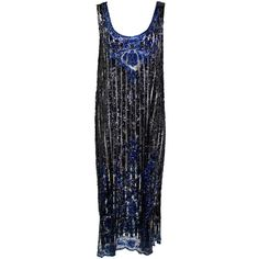 Pre-owned 1920's Black and Navy Sequined Flapper Dress ($695) ❤ liked on Polyvore