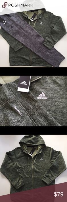 Adidas Full Zip Hoodie & Pant Fleece Set Includes matching hoodie and pant Hoodie: Description: Adidas Men's Fleece Full Zip Hood with drawstring Interior locker loop Split front kangaroo pockets Heathered fabric Climawarm technology 100% Polyester Fleece Back Body Length (in): S = 28 | M = 29 | L = 30 | XL = 31 | XXL = 32  Pants Description: Adidas Men's Fleece Pant Elastic waistband with interior drawstring Two side pockets Tapered leg Climawarm Technology 100% Polyester Inseam (in): S…