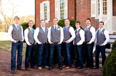 country cowboy groomsmen attire, groomsmen in dark denim, wool vests and shades of blue different patterned ties, hot pink country cowboy DIY wedding, rustic wedding ideas, Chapel Hill wedding, Katelyn James Photography