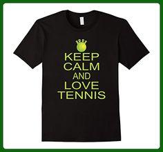 Mens Funny Keep Calm And Love Tennis Ball Sports T Shirt XL Black - Sports shirts (*Amazon Partner-Link)