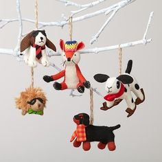 Adding some preppy style to your tree is easy with these animal ornaments. Each one features a dapper animal wearing its winter best. Choose from five different styles.