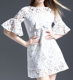 Flounce sleeved Embroidered Dress