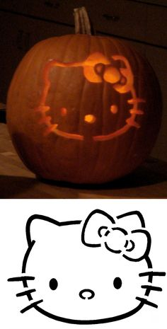 hello kitty Pumpkin Templates Stencils-so doing this next time Halloween Pumpkins, Halloween Crafts, Holiday Crafts, Holiday Fun, Halloween Decorations, Halloween Stencils, Holiday Ideas, Halloween Costumes, Holidays Halloween
