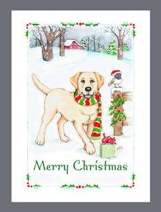 Yellow Labrador Retriever Dog Christmas Cards Box of 16 Cards and Envelopes by Judzart on Etsy https://www.etsy.com/listing/165589046/yellow-labrador-retriever-dog-christmas