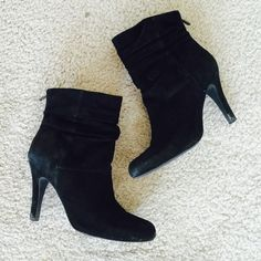 "INC ankle boots  INC ankle boots in used condition. Size 7.  Black suede. Heel height 4"" INC International Concepts Shoes Ankle Boots & Booties"