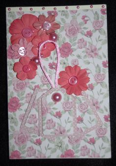 Small Card 3D Flowers, Buttons and Imitation Pearls, Pink Cord and Mini Gift Tags  Blank Inside - £1