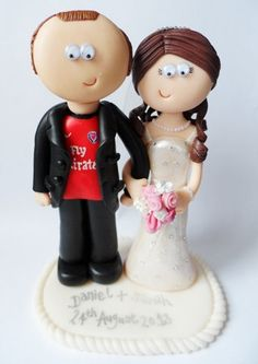 Custom handmade, personalised Bride & Football loving Groom Wedding cake topper, made to look like you in any outfits or poses you want. on Etsy, 43 996,00 Ft