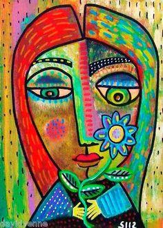 Sandra Silberzweig Abstract Flower Child Canvas ACEO Print | eBay