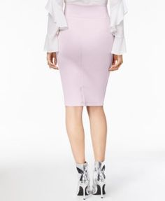 Thalia Sodi Scuba Pencil Skirt, Created for Macy's - Ivory/Cream XXL