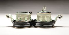 """NaomiClement Cream & Sugar Set with Tray, 2013 wheel thrown and altered stoneware 4.5"""" x 12"""" x 5.75 """""""