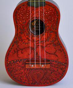 Ukulele Hand Painted Each one unique by roxywhite on Etsy Ukulele Art, Cool Ukulele, Ukelele, Ukulele Chords, Guitar Art, Guitar Tattoo, Banjo, Violin, Painted Ukulele