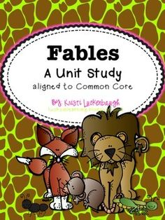 Fables- Common Core Aligned RL 2.2 and RL 3.2- Includes story elements cards, passages, analyzing template, elements foldable, and 4 comprehension quizzes with answer keys