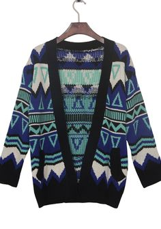3840123e4bde Blue Contrast Black Trim Geometric Tribal Cardigan Sweater Short Sleeve  Cardigan