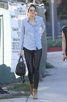 Kendall Jenner in leather pants. More at: https://www.facebook.com/media/set/?set=a.637036196423833.1073742138.369478233179632&type=3