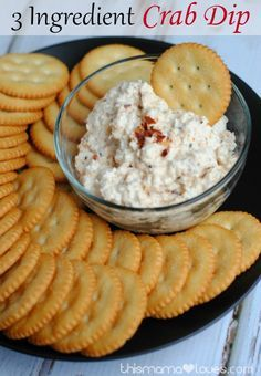 3 Ingredient Crab Dip- yep, 3 ingredients, takes 2 min to make and needs to chill a few hours.  PERFECT for parties and tailgating!