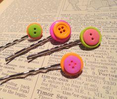 Button Bobby Pins Set of 4 Neon brights green orange pink. $3.50, via Etsy.