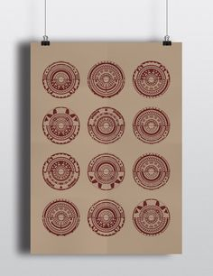 LE Geometric Harvert and Red Screen Print One Of A Kind