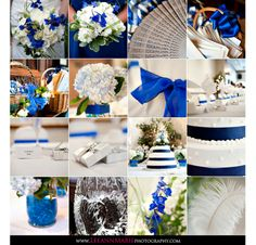 Blue Silver and White wedding details