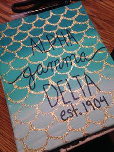 Alpha Gamma Delta mermaid scale sorority canvas Big Little 2016 - Crafting DIY Center