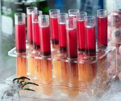 halloween test tube shooters 1 package of orange colored gelatin powder such as orange peach or apricot 1 cup boiling water 1 can peaches