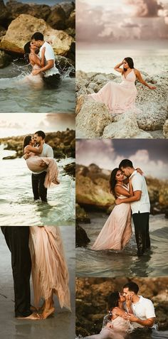 Engagement Photos, What to wear for engagement photos, posing couples, couple poses, engagement poses, engagement outfits, beach engagement, elopement, beach elopement, pink dress,
