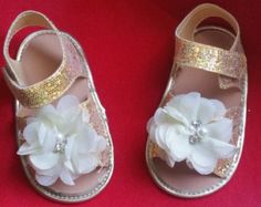 Gold Baby Shoes Leopard Baby Shoes Ballerina baby by Jillianspicks