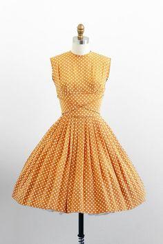 vintage 1950s dress / 50s dress / Tan and White Polkadot Party Dress