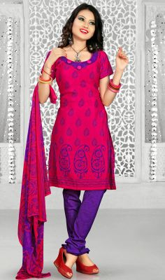 Red and Purple Chanderi Churidar Suit Spruce up your persona in this red and purple chanderi churidar suit. This beautiful dress is displaying some remarkable embroidery done with block print work. #IndianChuridarKurtaStyle #LadiesFashionChuridarSuits